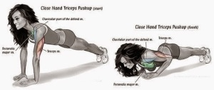 Close-grip push ups